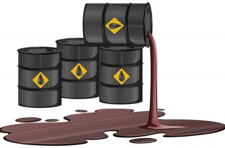 Black oil barrels with crude sign spill oil on the floor isolated on white background illustration